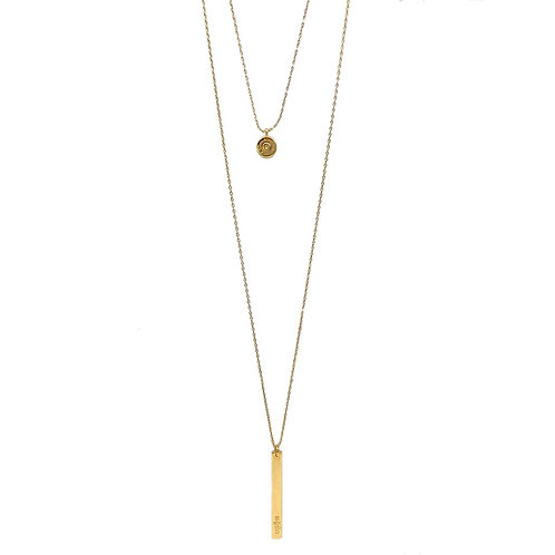 Layered Bar Bullet Necklace