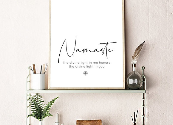 """Namaste"" Canvas Print Yoga Poster Scandinavian Style Hygge"