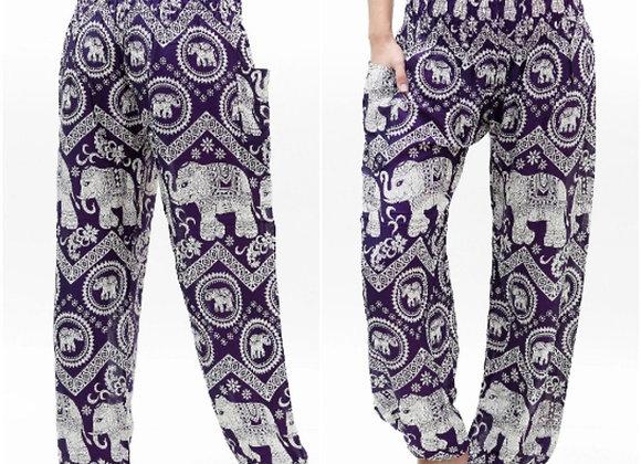 Purple ELEPHANT Pants Women Boho Pants Hippie Pants Yoga