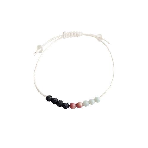 Bloodstone, Rhodonite and Lava Beads + Hemp +