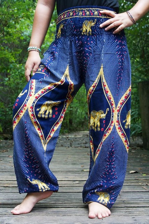 Blue ELEPHANT Pants Women Boho Pants Hippie Pants Yoga