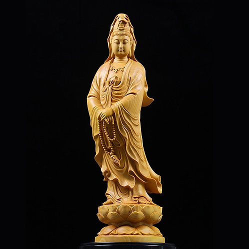Kuan Yin on Lotus - Solid Wood Carving