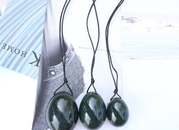 Drilled Nephrite Jade Yoni Eggs - 3 pc set
