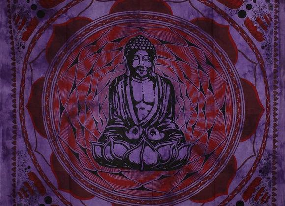 Purple Buddha In Dharma Chakra Mudra On A Lotus Flower Tapestry