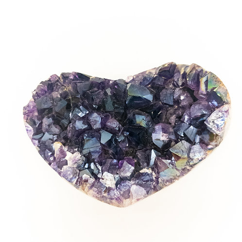 Grade A Amethyst Druzy Heart with Angel Aura: Extra Large Polished