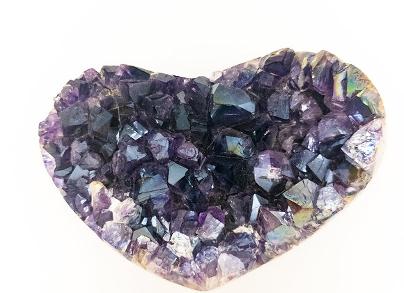 Extra Large Polished Grade A Amethyst Druzy Heart with Angel Aura