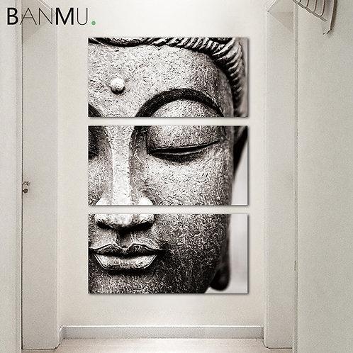Gray Buddha Statue Canvas Paintings - 3 Panel Set