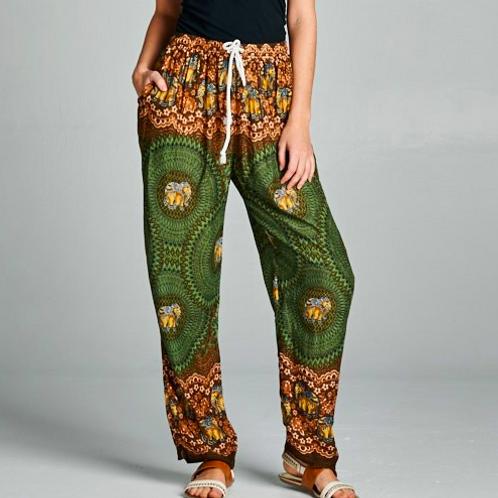 Green Boho Elephant Print Pants