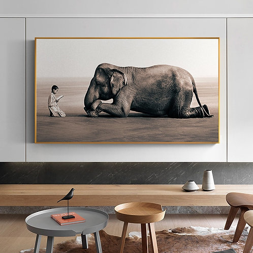 Two Equals, Elephant & Child in Meditative Contemplation on canvas.