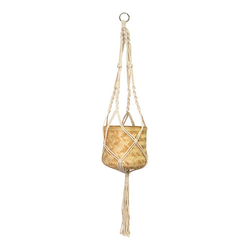 Natural White Bamboo Rope Hanging Planter