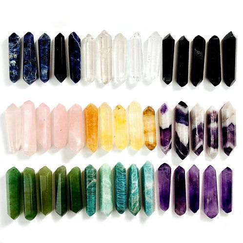 Reiki Charged Double Pointed Gemstone Wands