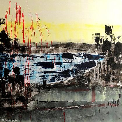 PLUIE VERMEILLE SUR L'ETANG / Vermilion rain on the pond
