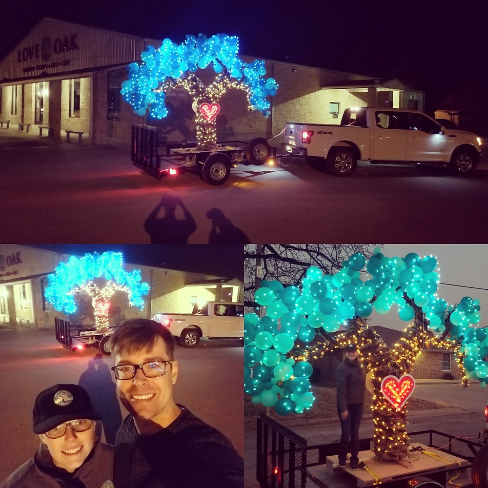 Dr. Benjamin and Heather McNabb with Love Oak Christmas Parade Float in Eastland, Texas.