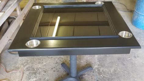 Black Domino Table On Pedestal