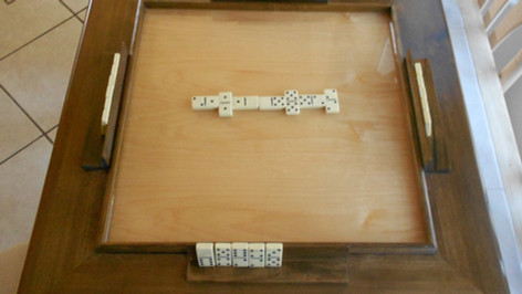 Solid Wood Domino Table With an Early American Finish