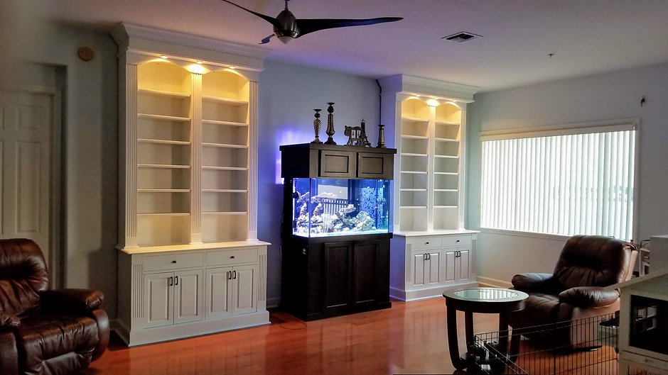 Custom made twin floor to ceiling book case.