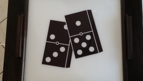 Black Domino Table With Dominoes Decal