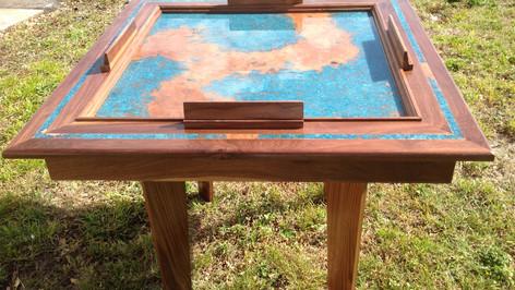 Custom Made Walnut Domino table with Azul Copper