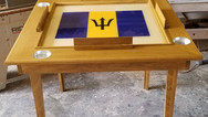 Custom Made Domino Table With Barbados Flag