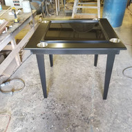 Black Domino Table with tapered Legs and