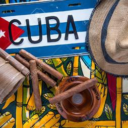 Cuban flag cigars ash tray and hat 012