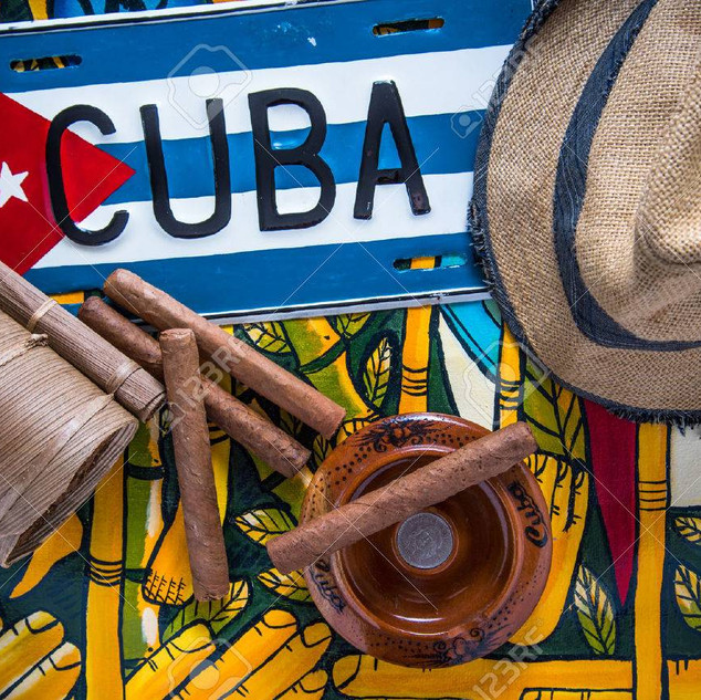 Cuban flag cigars ash tray and hat 012