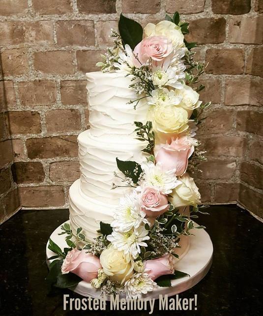 Buttercream textured wedding cake