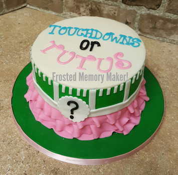 Touchdowns or Tutus gender reveal cake