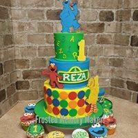 Sesame Street themed 1st Birthday cake
