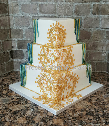 Gold Henna Piped Wedding cake