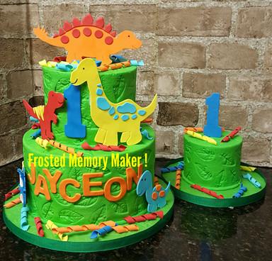 Dinosaur themed 1st Birthday cake