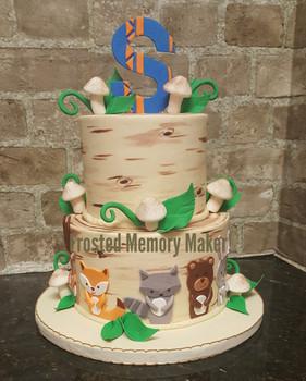 Woodlands creatures baby shower cake
