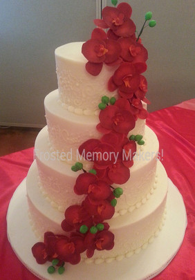 Sugarpaste orchid wedding cake
