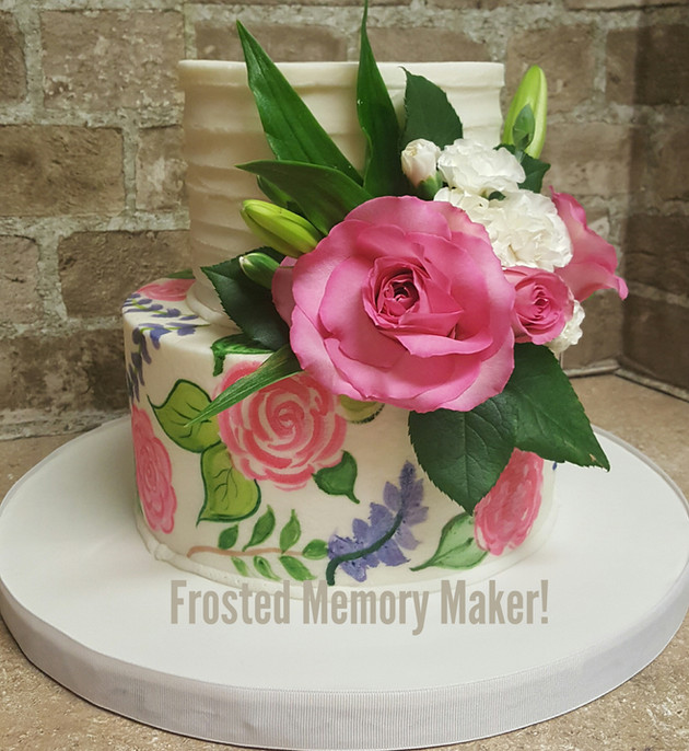 Floral painted birthday cake