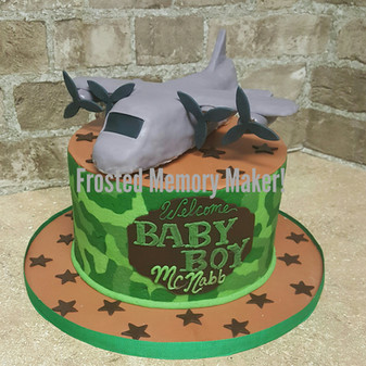 Army themed baby shower cake