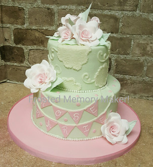 mint and rose baby shower cake