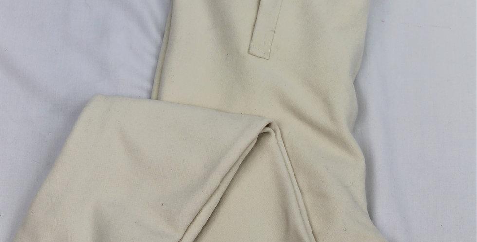 Culotte à petit pont jambes longues, en drap blanc