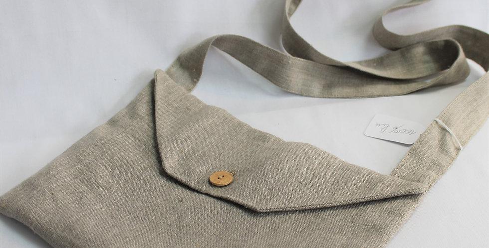 Musette en lin naturel, poche intérieur ( 28 * 20 cm)