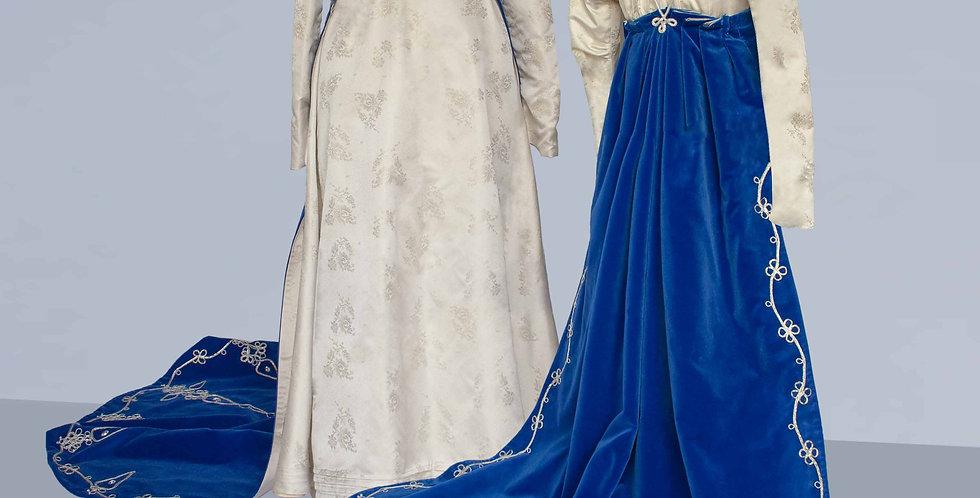FASTUEUSE, manteau de robe à traîne d'exception, largementdécoré