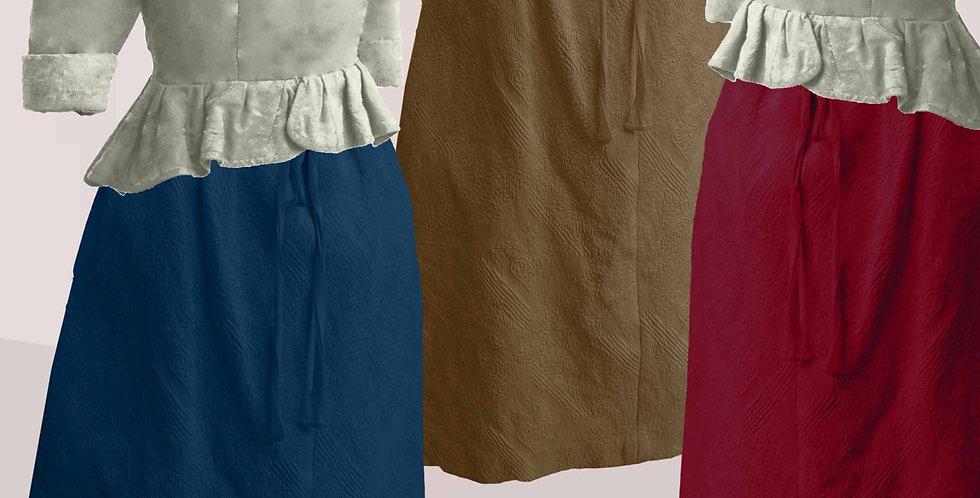 Jupe TRADITION, jupe ample plate sur le devant, montée à plis canon à l'arrière