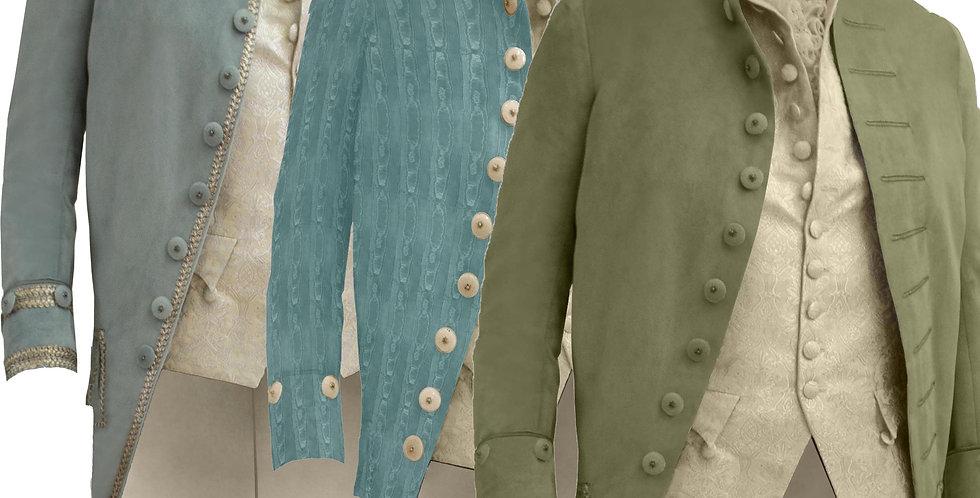 LE 1780, habit de coupe à la Française fin XVIIIe,    3 versions par 10 couleurs