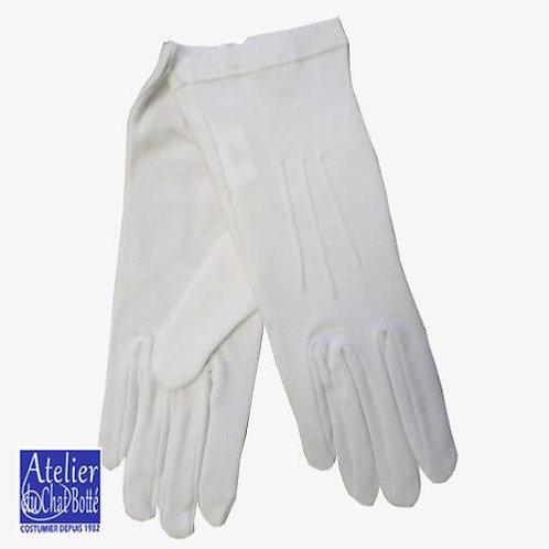 Gants blanc 100% coton à 3 baguettes