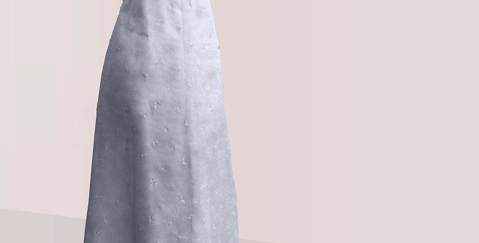 AERIENNE, robe encoton recouvert d'organza brodé, manches ballon