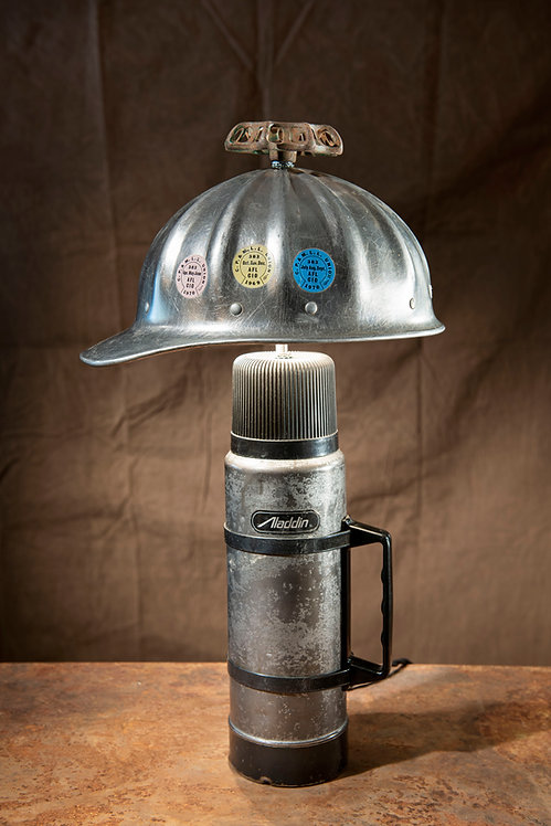 Coal Miner; Vintage aluminum hard hat and thermos table lamp