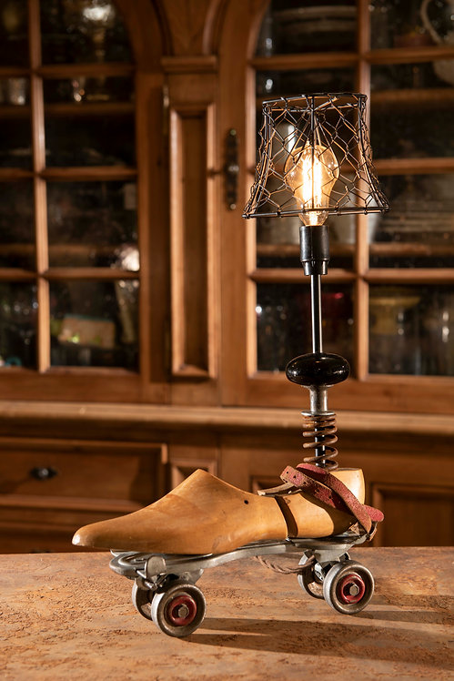 Mikey; vintage roller skate and shoe last lamp