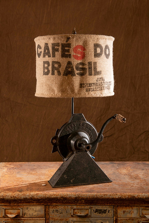 Brazillian; vintage grinder with coffee bean bag shade lamp