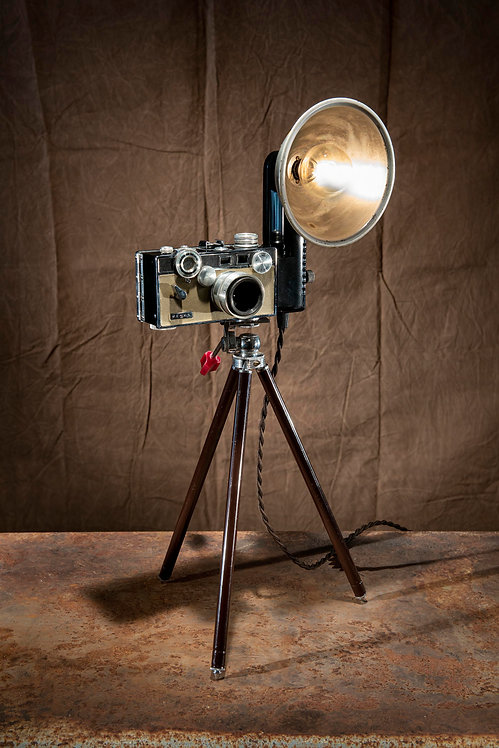 Argus mid-century 35mm camera lamp with tripod