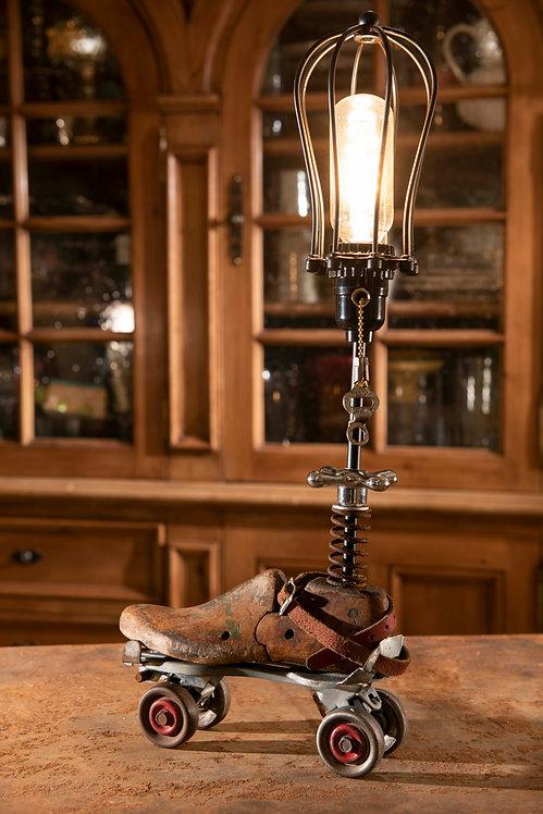Cindy; vintage roller skate, shoe last lamp