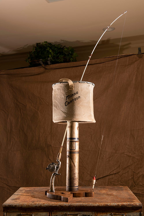 Lunker; Fishing pole and minnow bucket lamp