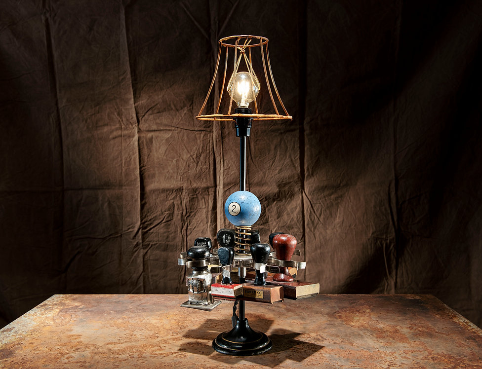 The rubber stamp stand, eclectic desk or table lamp